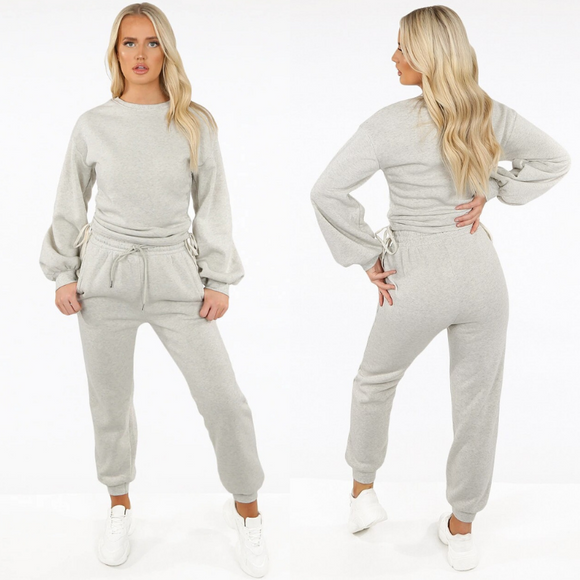 Zoe Designer Inspired Tie Ruching Loungewear Set - Grey