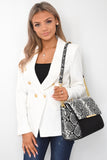 Cambrie Designer Inspired Snake Print Bag - Black front view