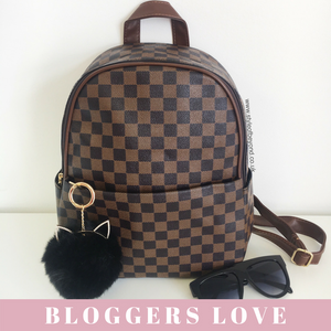 2ff20496e9c 'Day Trip' Louis Vuitton Inspired Backpack - Brown Check