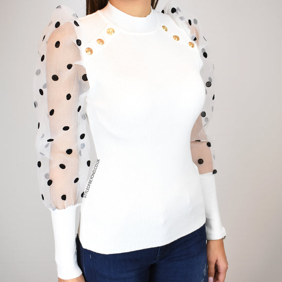 Peri Puff Sleeve Designer Inspired Top - White