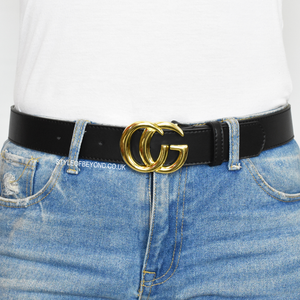 Farrah Real Leather Gucci Inspired Belt - Black