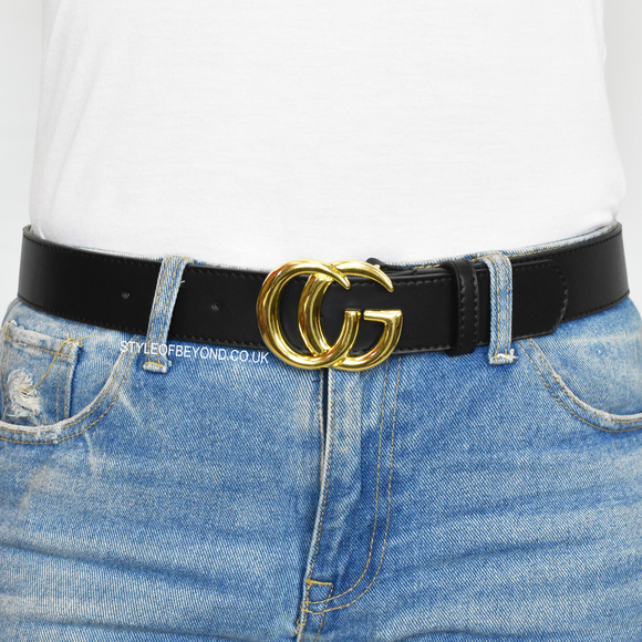9f81276848d Farrah Real Leather Gucci Inspired Belt - Black