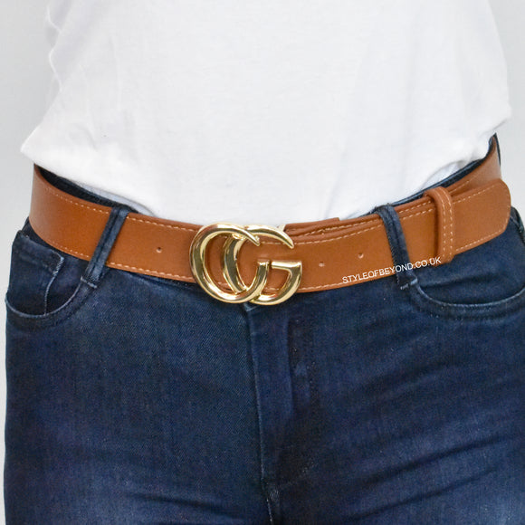Farrah Real Leather Gucci Inspired Belt - Tan