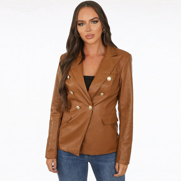 Victoria Balmain Inspired Tailored Blazer - Tan PU Leather