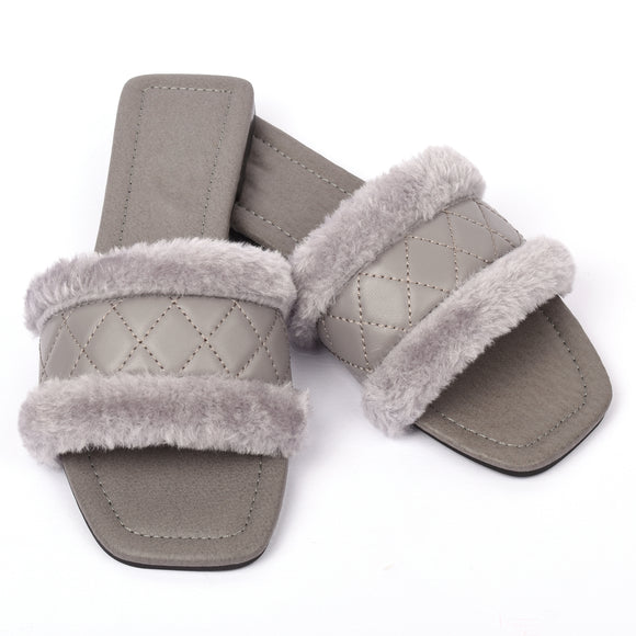 Cleo Faux Fur Designer Inspired Sandals - Grey