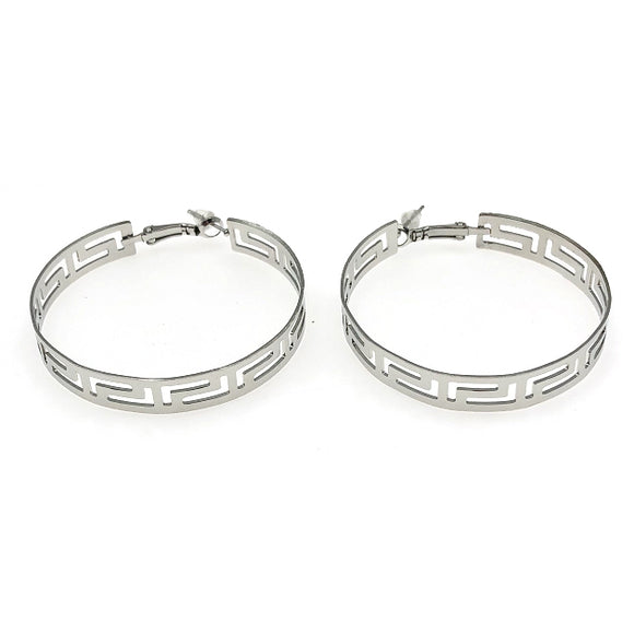 Fedra Designer Inspired Hoop Earrings - Silver