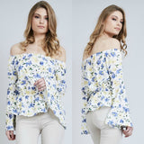 Freya Floral Bardot Bell Sleeved Top - White
