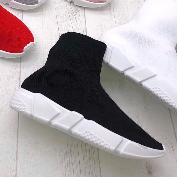 High Speed Balenciaga Inspired Sock Trainers - Black