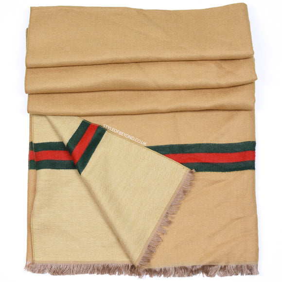 Gigi Reversible Striped Gucci Inspired Scarf - Camel