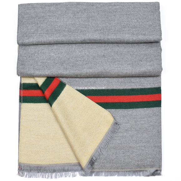 Gigi Reversible Striped Gucci Inspired Scarf - Grey