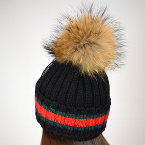 Elsa Real Fur Pom Pom Gucci Inspired Beanie - Black