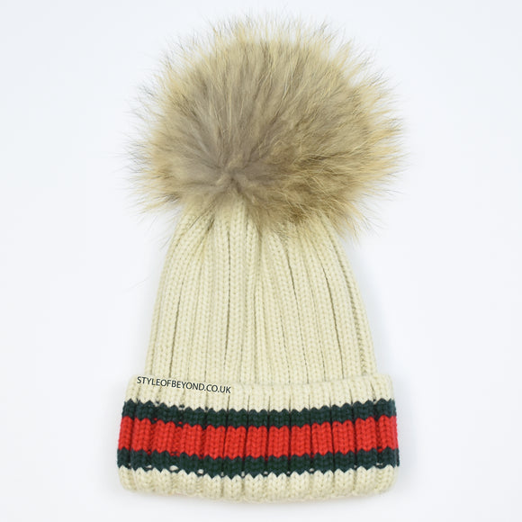 Elsa Real Fur Pom Pom Gucci Inspired Beanie - Nude