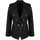 Georgia Knitted Hopsack Balmain Inspired Tailored Blazer - Black