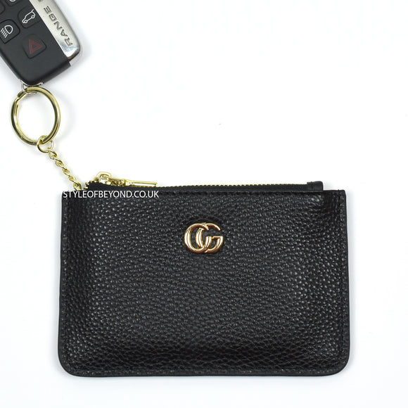June Leather Gucci Inspired Key Pouch - Black