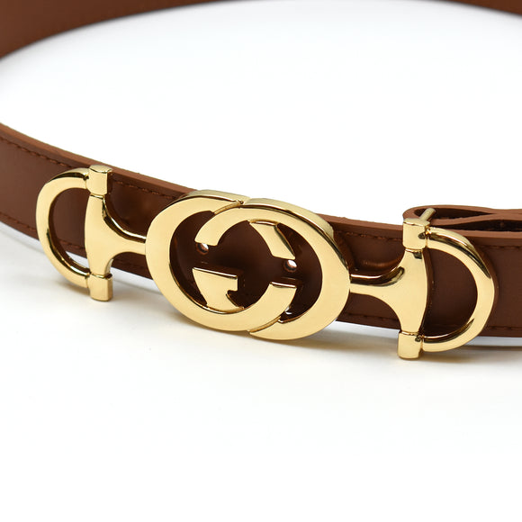 Horsebit Real Leather Gucci Inspired Belt - Tan