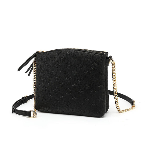 Hayley Monogram Designer Inspired Crossbody Bag - Black