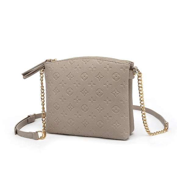 Hayley Monogram Designer Inspired Crossbody Bag - Mink