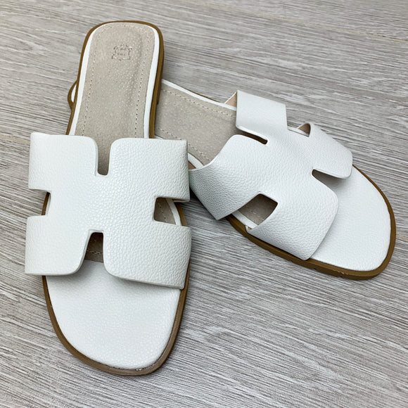 Orlie H Hermes Inspired Sandals - White