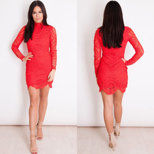 Rita Crochet Lace High Neck Sleeved Mini Dress - Red