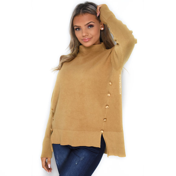 Isla High Neck Designer Inspired Jumper - Camel