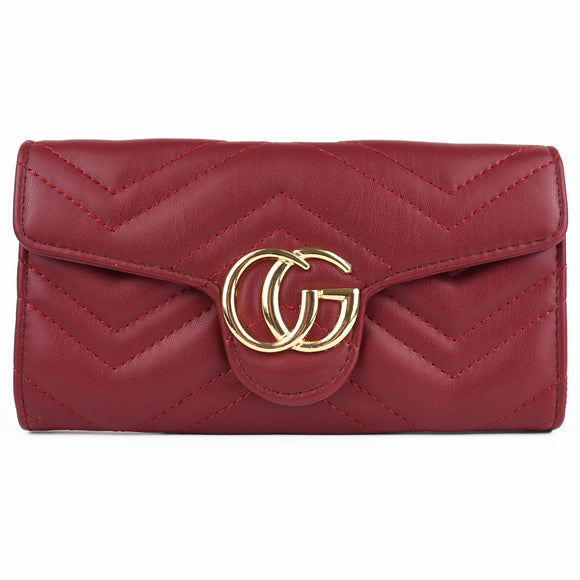 Venus Marmont Designer Inspired Purse - Wine Red