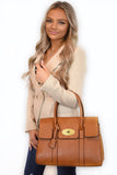 Kinley Designer Inspired Shoulder Bag - Tan worn on model