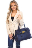 Kinley Designer Inspired Shoulder Bag - Navy worn on model