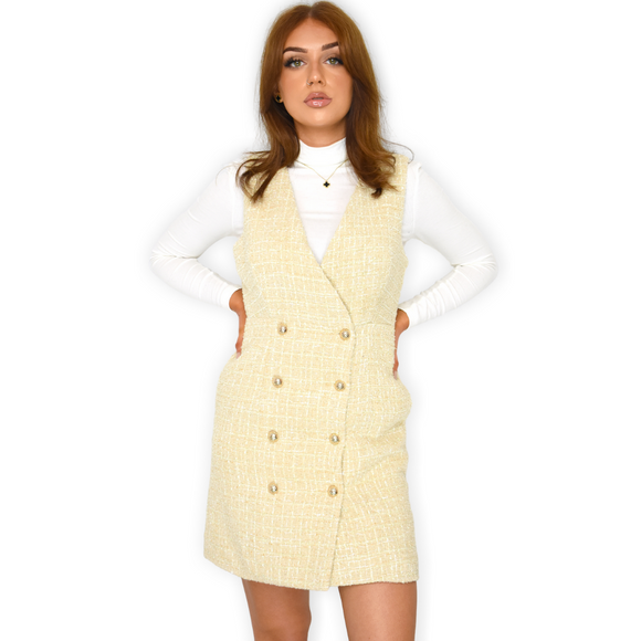 Krissy Designer Inspired Tweed Pinafore Dress - Beige