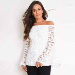 Imogen Flute Sleeve Crochet Lace Bardot Top - White