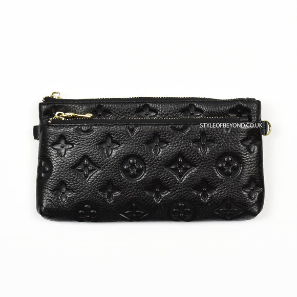 Ronel Real Leather Designer Inspired Wristlet Purse - Black