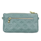 Ronel Real Leather Designer Inspired Wristlet Purse - Blue back view