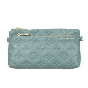 Ronel Real Leather Designer Inspired Wristlet Purse - Blue