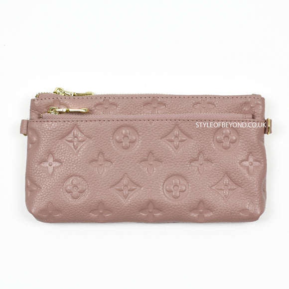 Ronel Real Leather Designer Inspired Wristlet Purse - Pink