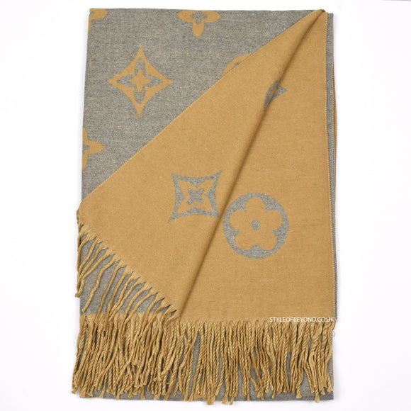 Linda Reversible Louis Vuitton Inspired Scarf - Camel / Grey