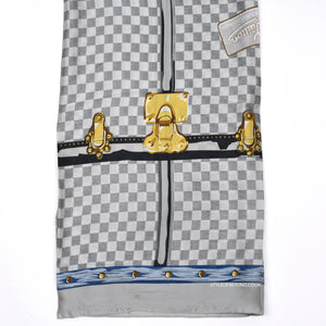 Robyn Louis Vuitton Inspired Silk Scarf - Grey Check