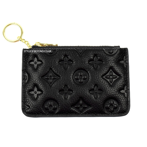 Ines Real Leather Louis Vuitton Inspired Key Pouch - Black