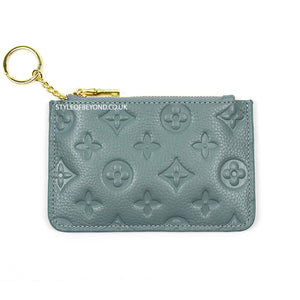 Ines Real Leather Louis Vuitton Inspired Key Pouch - Blue