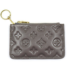 Ines Real Leather Louis Vuitton Inspired Key Pouch - Grey
