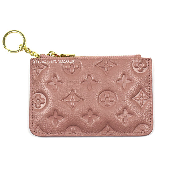 Ines Real Leather Louis Vuitton Inspired Key Pouch - Dusty Pink