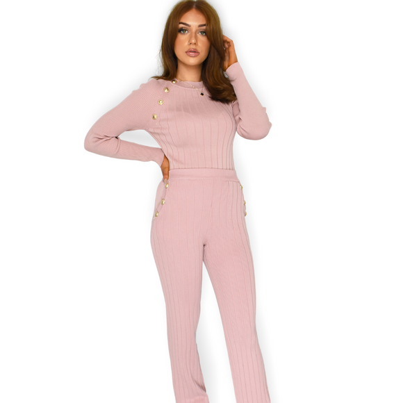 Lalita Button Designer Inspired Loungewear Set - Pink