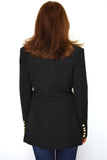 Lesley Longline Balmain Inspired Tailored Blazer - Black back