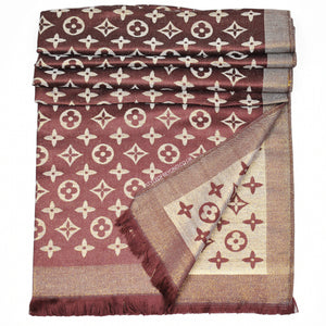 Lou Reversible Designer Inspired Scarf - Chocolate