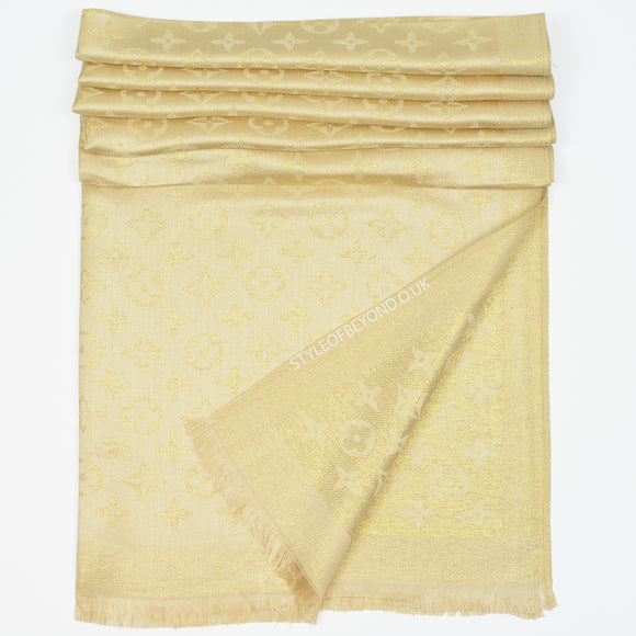 Lou Reversible Designer Inspired Scarf - Gold