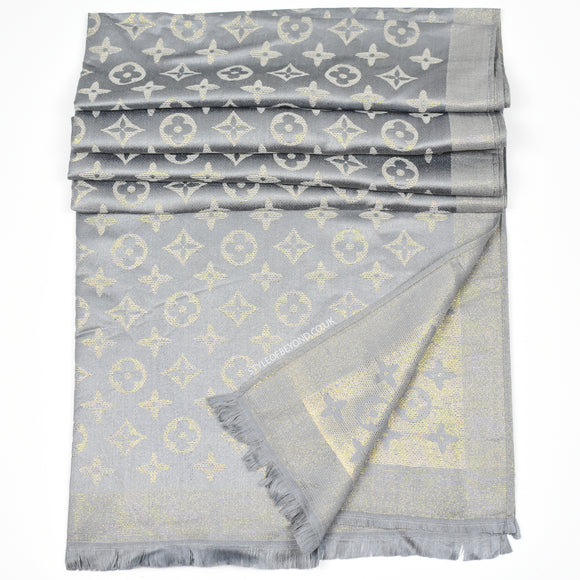 Lou Reversible Designer Inspired Scarf - Grey
