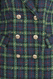Diana Plaid Balmain Inspired Coat - Green detailed view of buttons on front