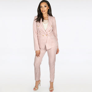 Molly Striped Balmain Inspired Blazer & Trouser Suit - Rose