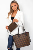 Neverfull Designer Inspired Tote Bag - Brown Check worn on arm with pouch