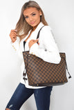 Neverfull Designer Inspired Tote Bag - Brown Check worn on shoulder