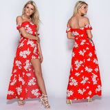 Noleen Floral Bardot Maxi Dress With Shorts - Red
