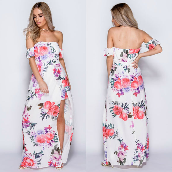 Noleen Floral Bardot Maxi Dress With Shorts - White